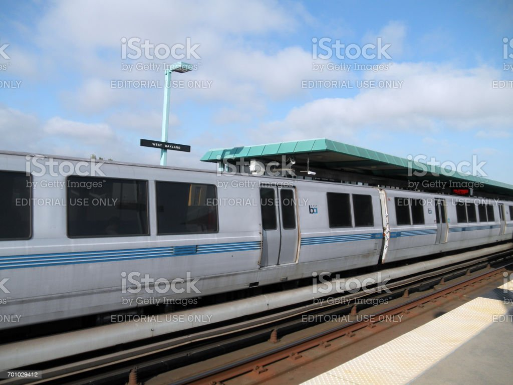 BART Train pulls into West Oakland Station stock photo
