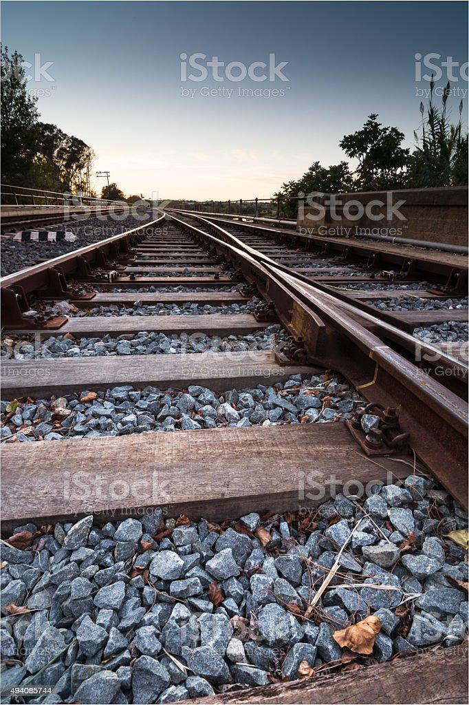 Train rail sunset stock photo
