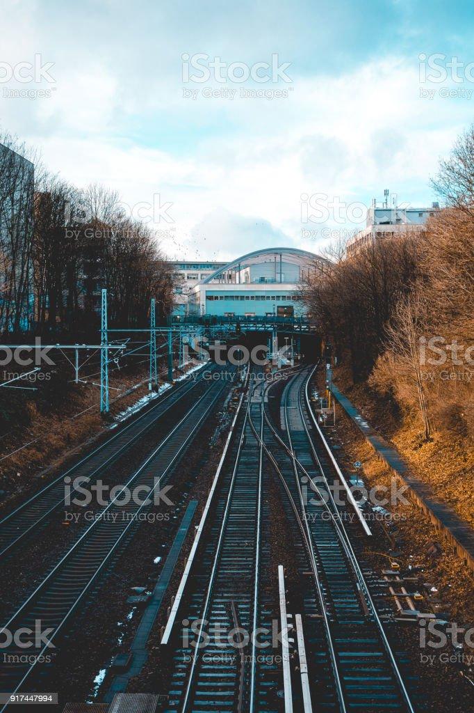 train rails at prenzlauer berg, berlin stock photo