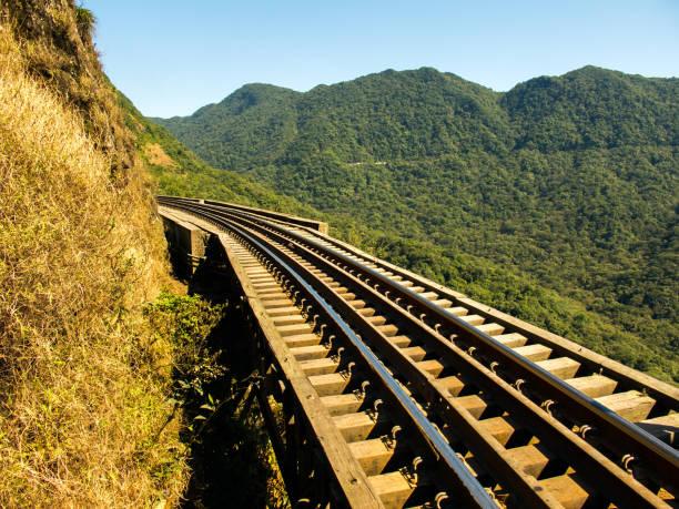 Train rails in southern Brazil stock photo