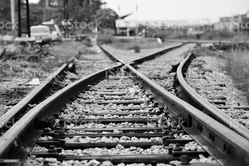 Train railway railroad track for junction in black white background stock photo