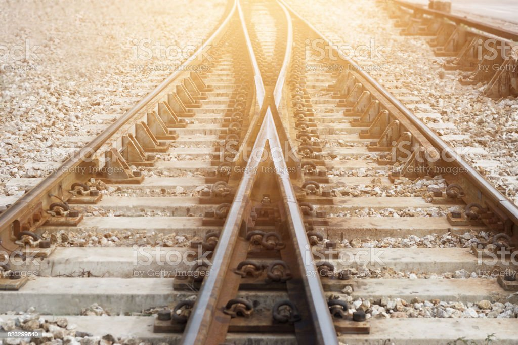 Train railway railroad track for junction stock photo