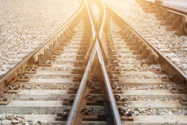 train railway railroad track for junction - rail stock photos and pictures