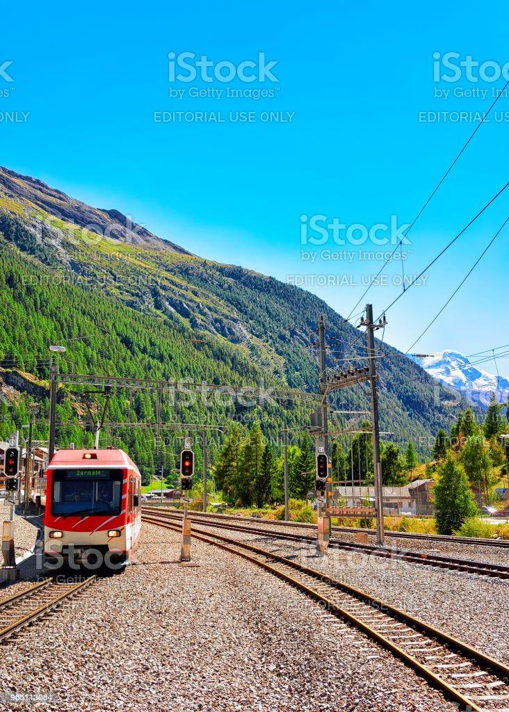 Train Railway station in Zermatt in Switzerland CH zbiór zdjęć royalty-free