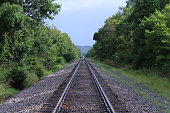 Train Tracks Fading Off Into the Far Distance