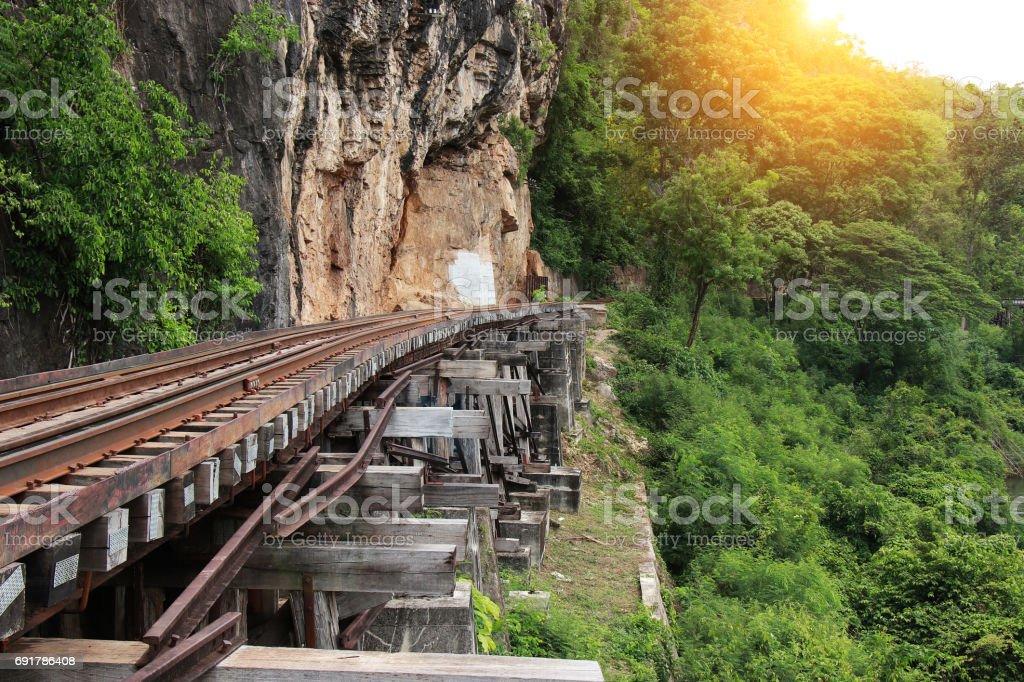Train ride on the Death railway (river Kwai, Thailand). Death Railway train passing over the Tham Krasae Viaduct. Thai - Burma Railway stock photo