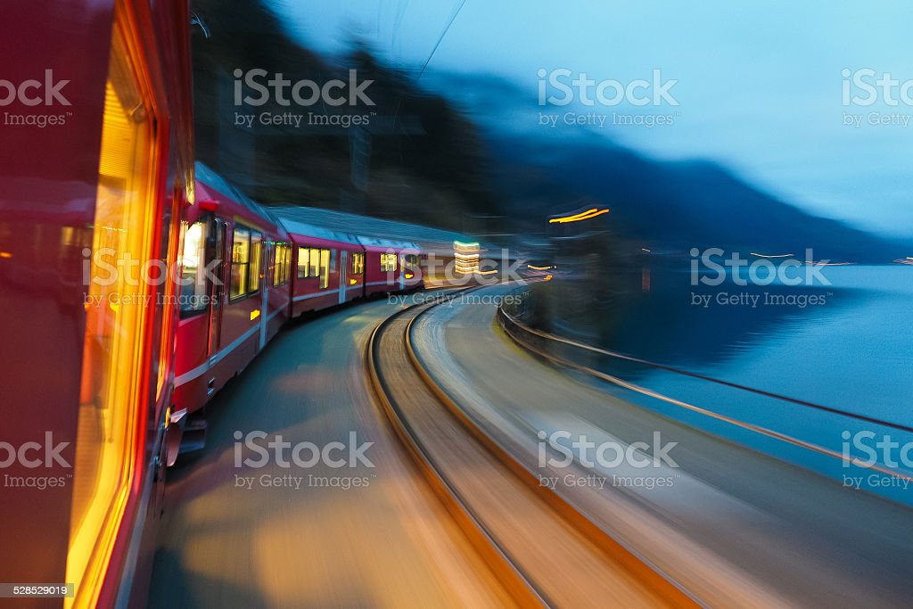 Train running fast stock photo