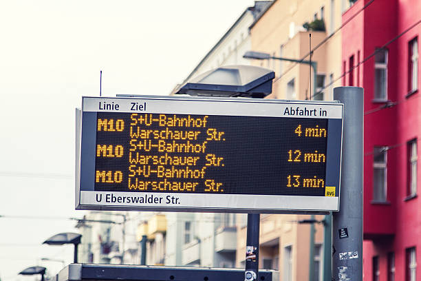 Train scoreboard in Berlin Berlin, Germany - November 10, 2014: Train scoreboard in Berlin. It´s on Eberswalder Strasse in Berlin/ Prenzlauer Berg. time magazine stock pictures, royalty-free photos & images