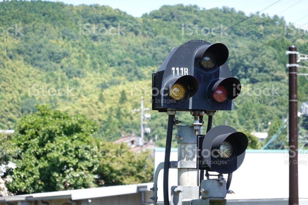 津和野駅で鉄道信号。 ストックフォト