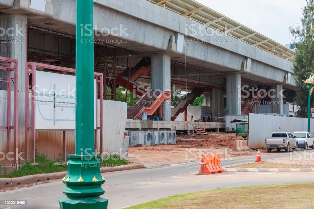train speed station under construction stock photo