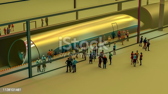 istock Train station and Hyperloop. Passengers waiting for the train. Futuristic technology for high-speed transport. 3d rendering 1128101461