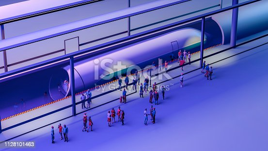 istock Train station and Hyperloop. Passengers waiting for the train. Futuristic technology for high-speed transport. 3d rendering 1128101463