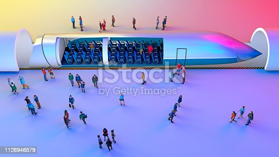istock Train station and maglev. Passengers waiting for the train. Futuristic technology for high-speed transport 1126946579