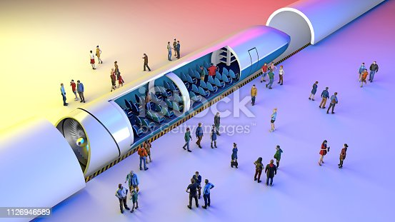 istock Train station and maglev. Passengers waiting for the train. Futuristic technology for high-speed transport 1126946589