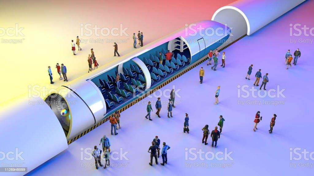 Bahnhof und Magnetschwebebahn. Passagiere warten auf den Zug. Zukunftstechnologie für Hochgeschwindigkeits-Verkehr – Foto