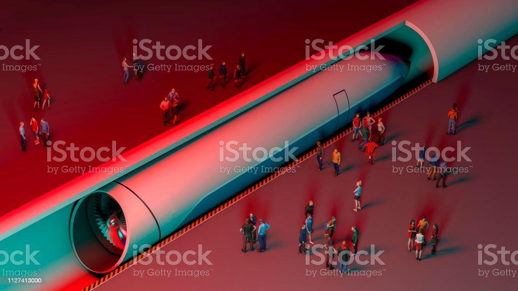 Estación de tren y levitación magnética. Pasajeros esperando al tren. Tecnología futurista para el transporte de alta velocidad - Foto de stock de Arquitectura libre de derechos