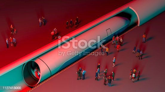 istock Train station and maglev. Passengers waiting for the train. Futuristic technology for high-speed transport 1127413000