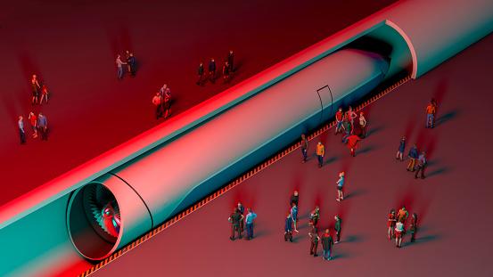 Estación De Tren Y Levitación Magnética Pasajeros Esperando Al Tren Tecnología Futurista Para El Transporte De Alta Velocidad Foto de stock y más banco de imágenes de Arquitectura