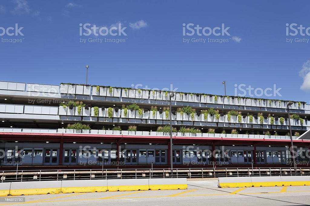 Train station and Parking Garage at OHare International Airport, royalty-free stock photo