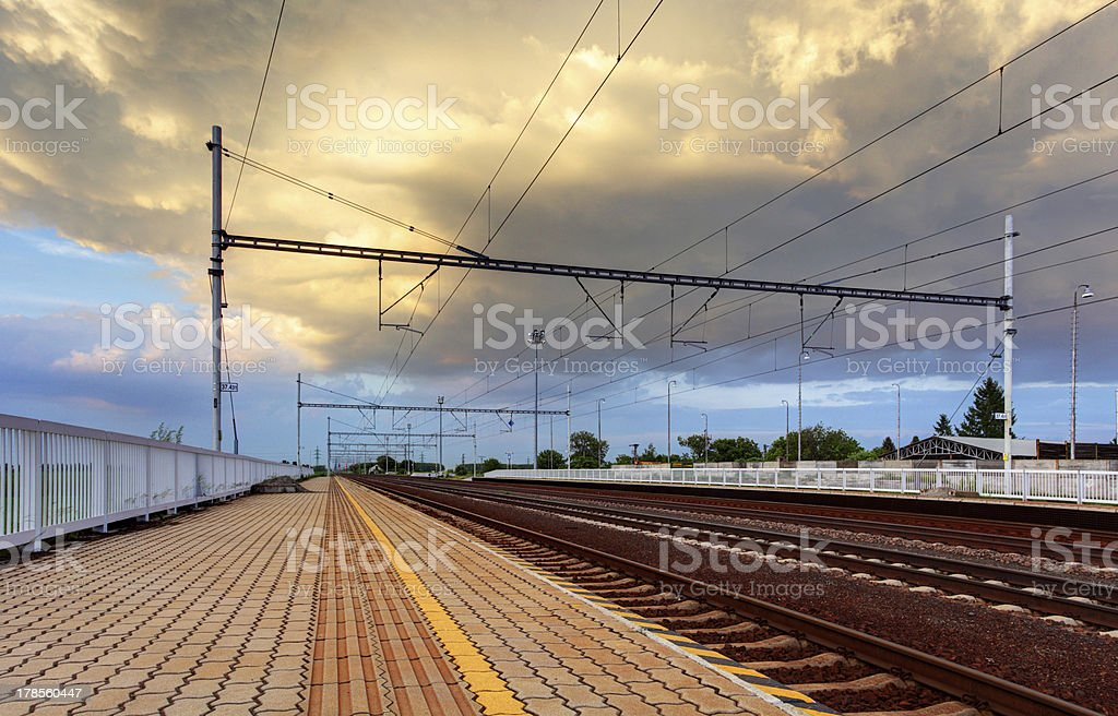 Train station and railroad royalty-free stock photo