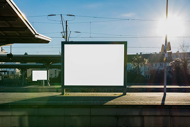 train station billboard blank white isolated clipping path outdo - billboard train station bildbanksfoton och bilder