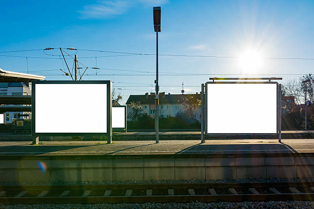 Train Station Billboard Blank White Isolated Clipping Path Outdo – Foto