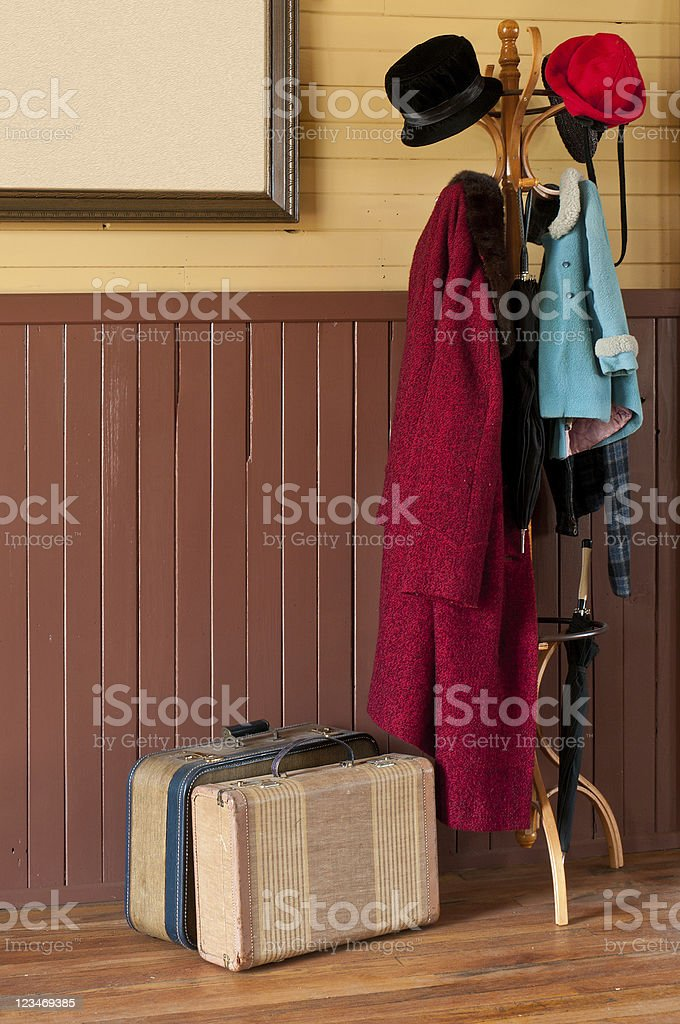 Train Station Coat Rack & Luggage stock photo