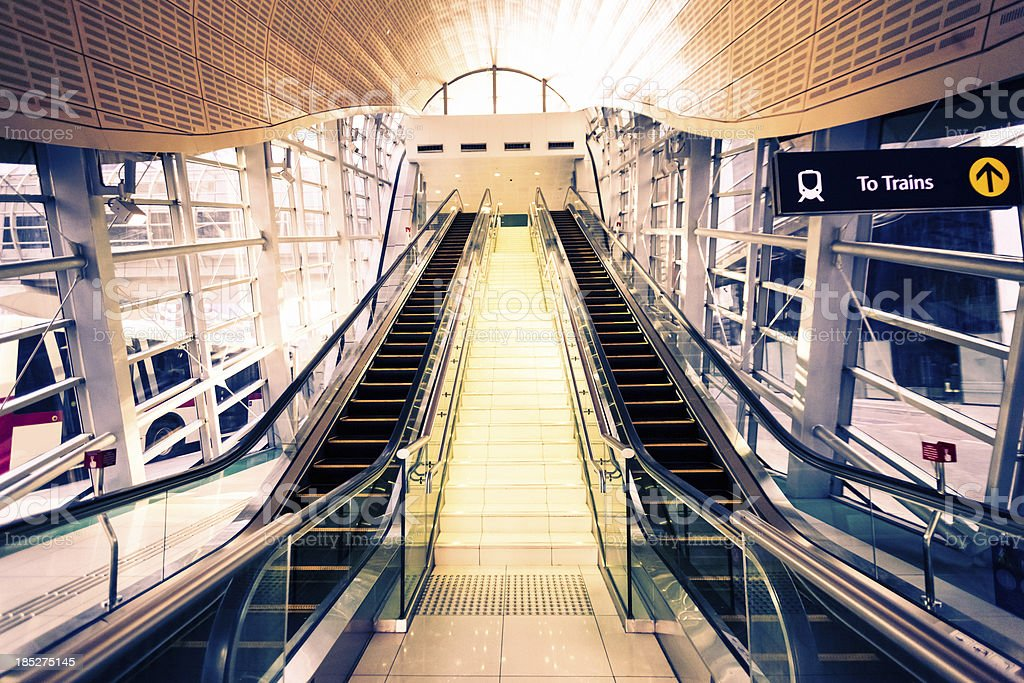 Train station escalators in Dubai, UAE stock photo