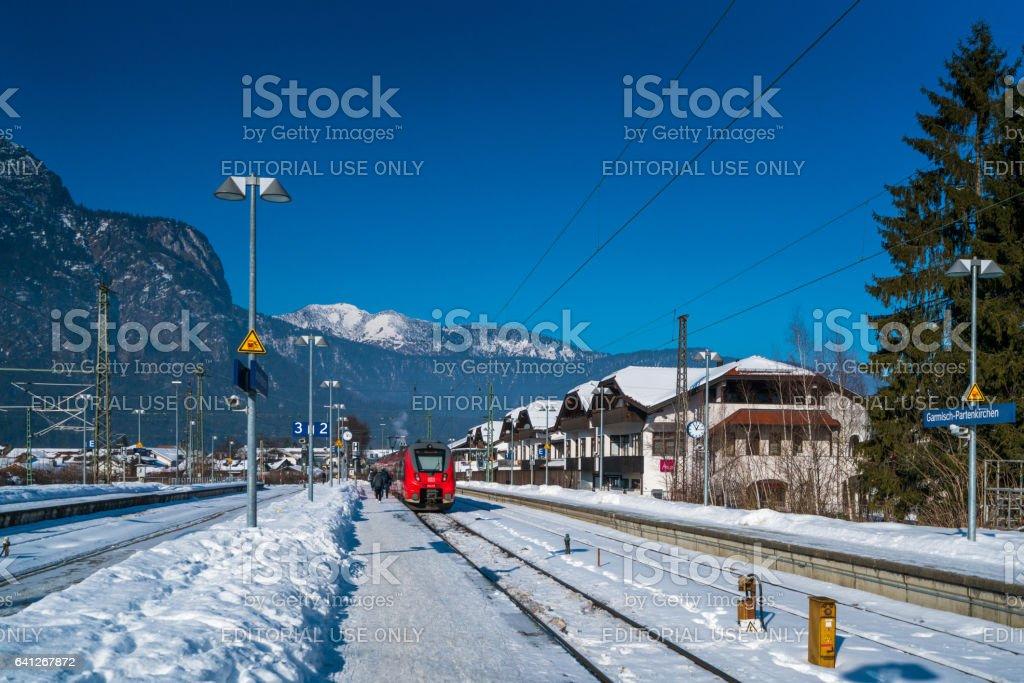 Train Station for regional trains at Garmisch-Partenkirchen, Bayern (Bavaria) Germany stock photo