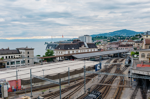 Train station in Montreux, Switzerland