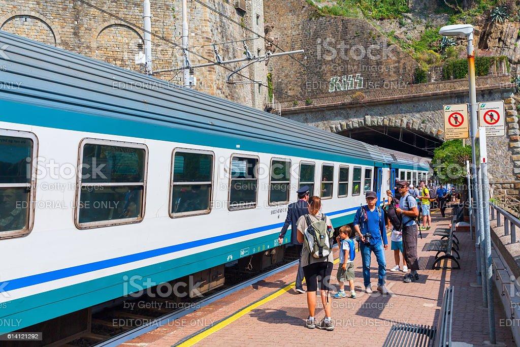 train station in Riomaggiore, Cinque Terre, Italy stock photo