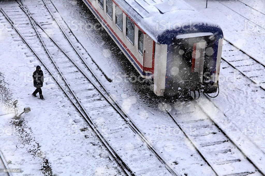 train station in snow royalty-free stock photo