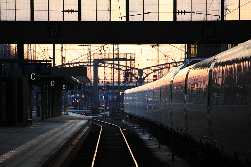 Antwerp, Belgium cityscape at Centraal Railway Station from night till dawn.