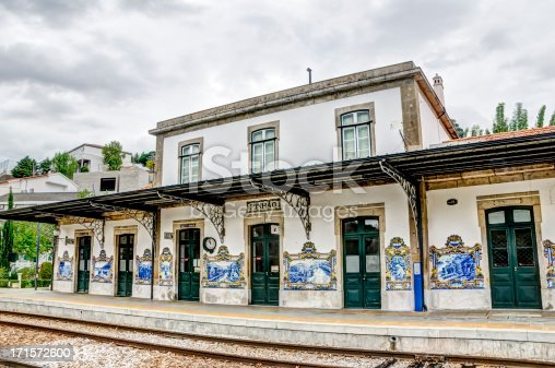 The train station in the small town of Pinhao, Portugal with its well known decorative tiled paintings on its walls.