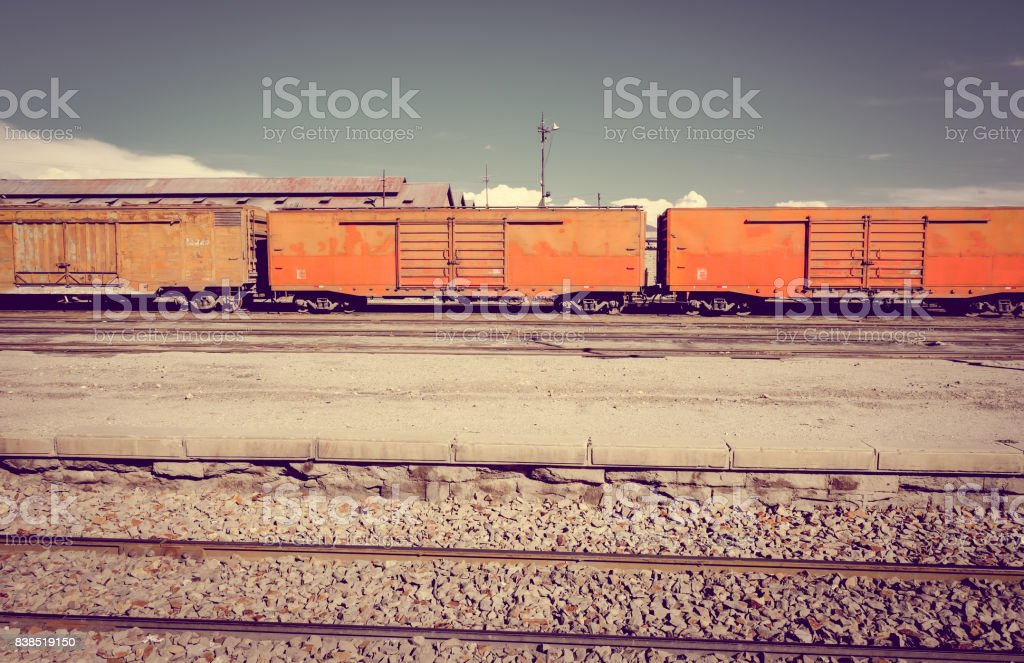 Train station in Uyuni, Bolivia stock photo
