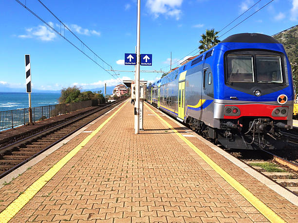 train station of genoa nervi. - transport conductor stock photos and pictures