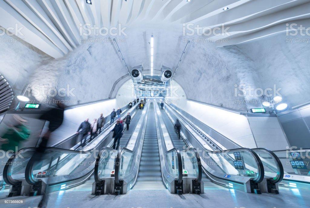 Train station platform escalators, Stockholm City - Royalty-free Arrival Stock Photo
