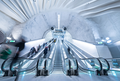 Train Station Platform Escalators Stockholm City Stock Photo - Download Image Now