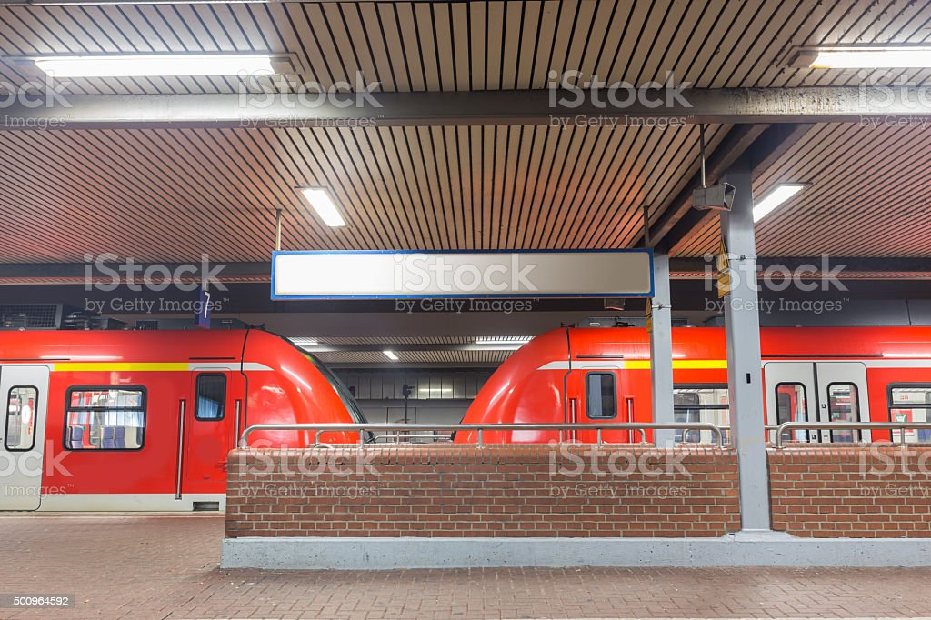 train station with sbahn trains stock photo