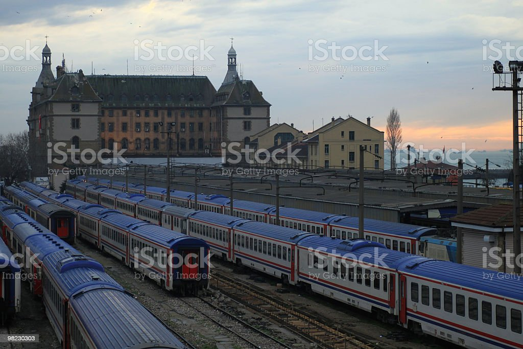 Train station with trains in the parking lot royalty-free stock photo