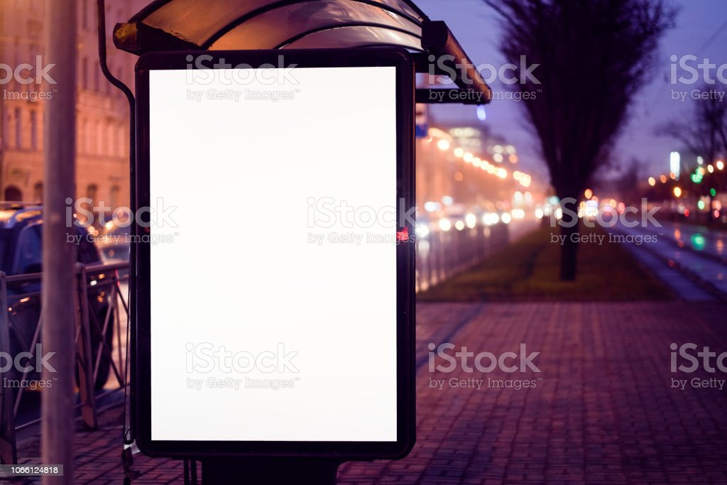 train stop bus shelter, with advertising billboard light...