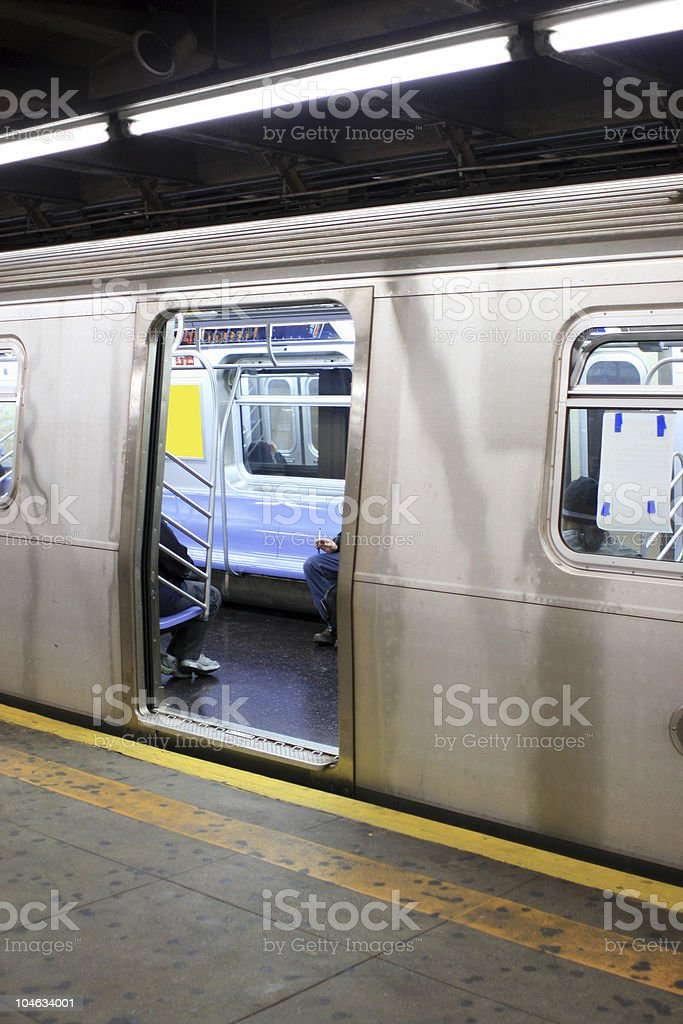 N Train Stopped at 59th Street Station in Brooklyn, NY stock photo