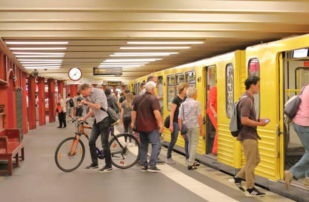 Train subway commuters Berlin Germany stock photo