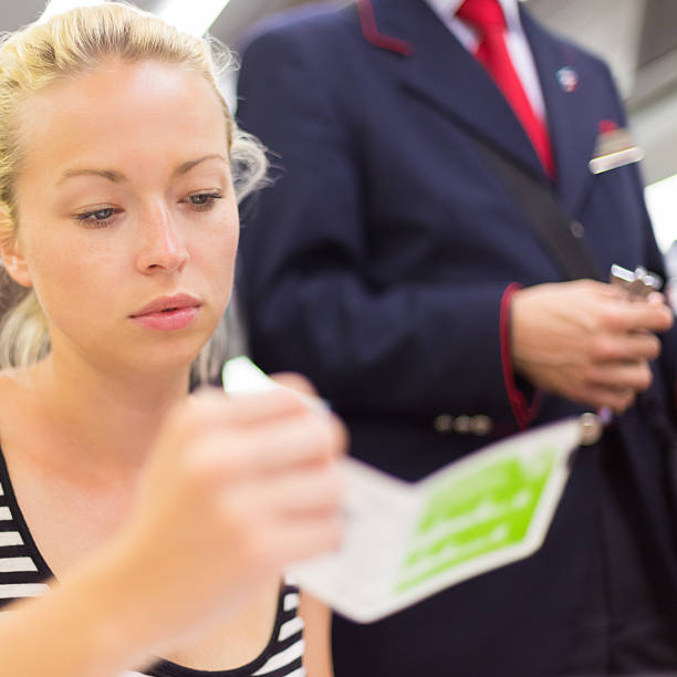 train ticket check. - transport conductor stock photos and pictures