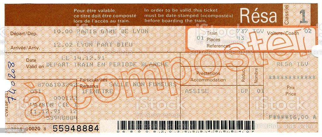Train Ticket from Paris stock photo