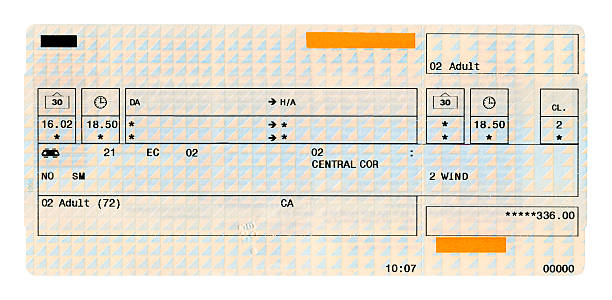 Train ticket Train ticket isolated on white train ticket stock pictures, royalty-free photos & images