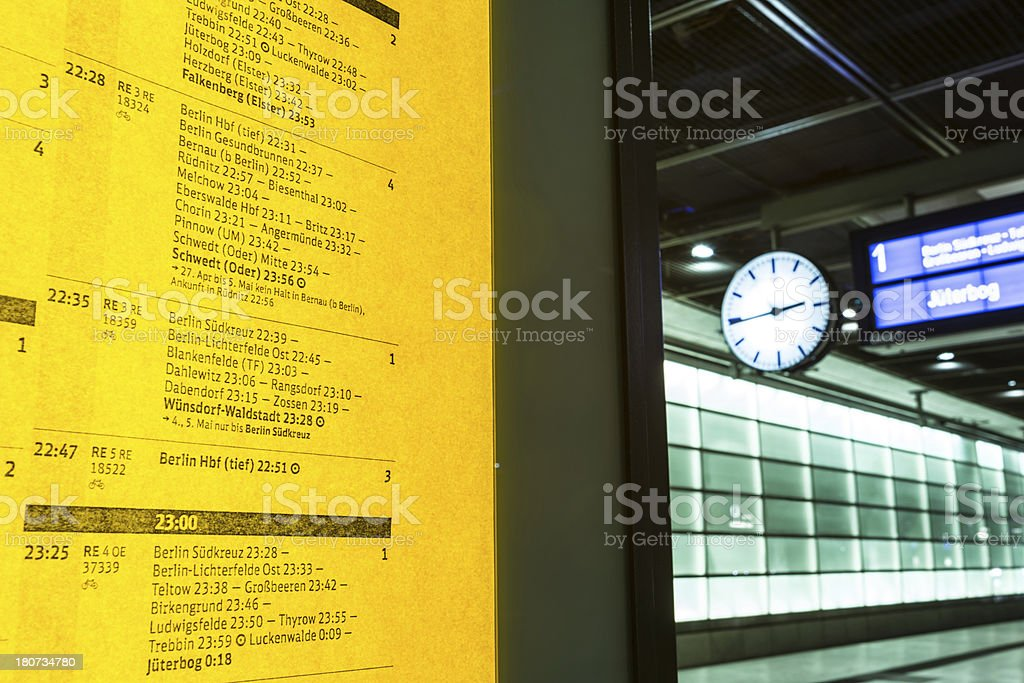 Train timetable on railway station in Berlin stock photo