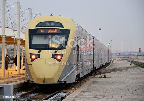 Riyadh, Saudi Arabia: fast train to Dammam on the platform at Riyadh railway station - built in Spain by CAF, Construcciones y Auxiliar de Ferrocarriles - western terminus of the Dammam–Riyadh Line - Saudi Railway Company (SAR), formerly operated by Saudi Railways Organization (SRO)
