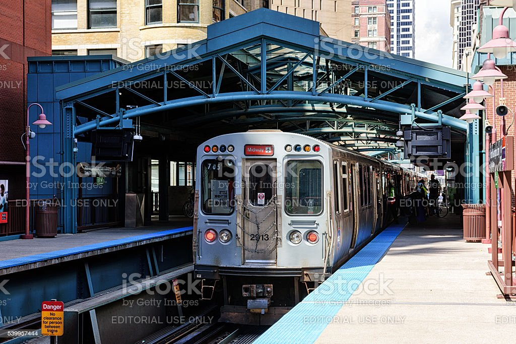 Train to Midway Airport, Chicago stock photo
