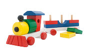 Train Toy Building Blocks, Wooden Steam Train Isolated Over White Background, Clipping Path